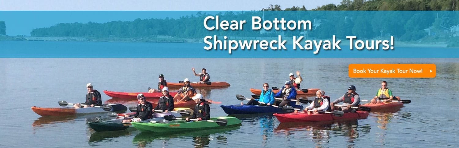 clear bottom kayak shipwreck tour in door county